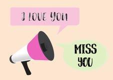 Mégaphone avec le message d'amour illustration stock