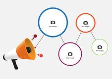 Mégaphone avec le nuage de la bulle colorée de la parole, concep de commercialisation illustration de vecteur