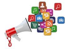 Mégaphone avec le nuage des icônes d'application Escroquerie de vente de Digital Image libre de droits