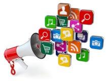 Mégaphone avec le nuage des icônes d'application Escroquerie de vente de Digital Photographie stock libre de droits