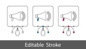 Mégaphone - contour a dénommé l'icône - course Editable - illustration de vecteur - d'isolement sur le fond blanc illustration libre de droits