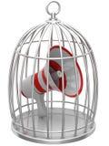 Mégaphone dans une cage Photos stock