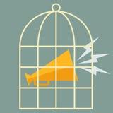 Mégaphone dans une cage Conception plate de vecteur Illustration de Vecteur