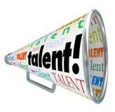 Mégaphone de corne de brume de talent appelle des travailleurs qualifiés Job Prospects Photos libres de droits