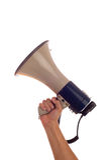 Mégaphone de fixation de main Photographie stock libre de droits