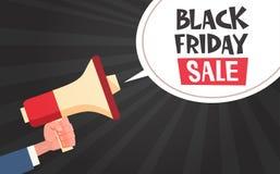 Mégaphone de prise de main avec le message de vente de Black Friday dans la bulle de causerie sur l'affiche de remise de Pin Up C Photos stock