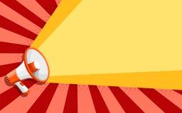 Mégaphone orange blanc Haut-parleur plat de style Illustration de vecteur sur le fond de couleur images stock