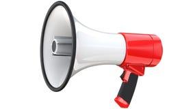 Mégaphone rouge et blanc d'annonce publique de corne de brume rendu 3d de téléphone méga, d'isolement sur le fond blanc illustration stock