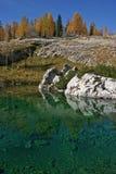 Mélèzes Dolina Triglavskih Jezer d'automne de Triglav NP Image stock