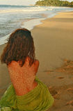 Mélancolie d'amour au coucher du soleil Images libres de droits