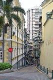 Mélange d'appartement ayant beaucoup d'étages résidentiel et d'édifices publics historiques dans Macao, Chine Photos libres de droits