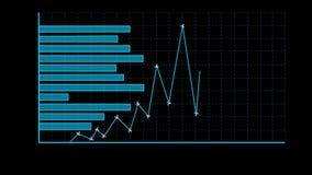 Mélange d'histogramme et de ligne diagramme Fond noir illustration libre de droits