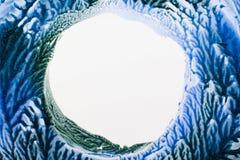 Mélange de cadre bleu et vert de vernis à ongles sur le blanc Images libres de droits