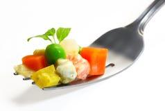 Mélange de légumes sur la fourchette Image libre de droits