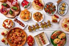 Mélange de Tapas et nourriture de pinchos d'Espagne Images stock