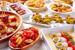 Mélange de Tapas et nourriture de pinchos d'Espagne Image stock