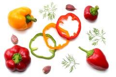 mélange de tranche de tomate, de feuille de basilic, d'ail, de paprika doux et d'épices d'isolement sur le fond blanc Vue supérie Images libres de droits
