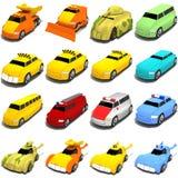 Mélange de véhicules de dessin animé Photos libres de droits