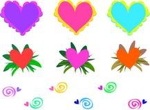 Mélange des coeurs et des spirales Photo libre de droits