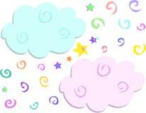 Mélange des spirales, des étoiles, et des nuages Images stock