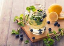 Mélange infusé fruité frais de l'eau de myrtille, de citron et de m Images stock
