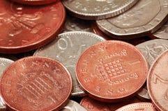mélange R-U de pièces de monnaie Images libres de droits