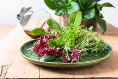 Mélange sain de concept de nourriture de salade de légumes dans le plat vert sur le fond en bois avec l'espace de copie photographie stock libre de droits