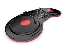 Mélangeur de musique du DJ avec le disque de vinyle. D'isolement Photographie stock
