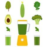 Mélangeur, légumes et jus de légumes Avocat, concombre, brocoli, herbes Verres avec du jus vert Illustration de vecteur, isola Image stock