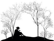 Mélodie de ressort, silhouette du garçon s'asseyant sur la pelouse de colline et jouant sur le tuyau tubulaire, noire et blanche, illustration stock