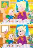 Mémé et petite-fille illustration de vecteur