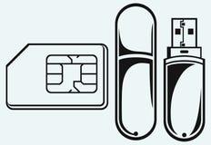 Mémoire instantanée d'Usb et sim de téléphone portable Photographie stock libre de droits