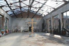 Mémorial d'école de Beslan, où l'attaque terroriste était en 2004 Photographie stock libre de droits