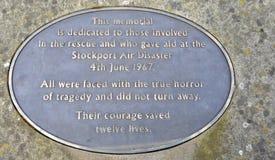 Mémorial de désastre aérien de Stockport Photos libres de droits
