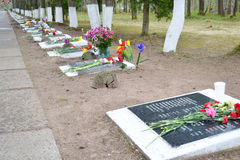 Mémorial de guerre sur des tailles de Sinyavino Photographie stock libre de droits