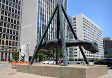 Mémorial de Joe Louis à Detroit, MI Image stock