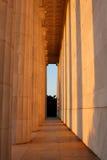 Mémorial de Lincoln au coucher du soleil Image stock