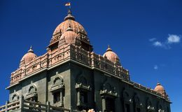 Mémorial de roche de Vivekananda dans Kanyakumari, Inde Images libres de droits