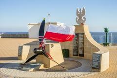 Mémorial de Sikorski sur le point de l'Europe chez le Gibraltar, territoire d'outre-mer britannique images libres de droits