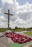 Mémorial et guirlandes de cratère de mine de Lochnagar Images stock
