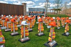 Mémoriaux de fatalité de travailleurs de route images libres de droits