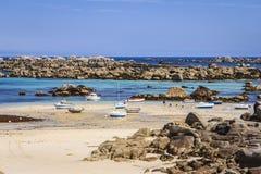 Ménéham, Kerlouan, Finistère, France. The sea and the beach covered with huge rocky blocks at Ménéham Stock Photography