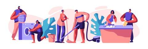 Ménage et routine Femme de ménage et homme nettoyant les vêtements sales, plancher Corvées domestiques, travaillant avec la machi illustration stock