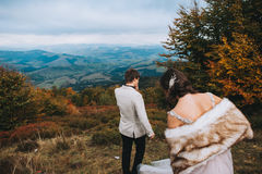 Ménages mariés nouvellement posant dans les montagnes Image stock