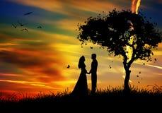 Ménages mariés par famille dans la nature de coucher du soleil Images libres de droits