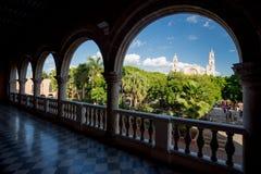 Mérida, grande de la plaza visto del Municipal de Palacio, México Fotos de archivo libres de regalías
