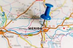 Mérida on map stock photo