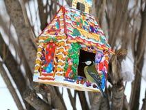 Mésange bleue alimentant en hiver Photos libres de droits