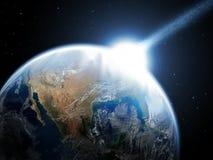Météorite en baisse, asteroïde, comète sur terre illustration de vecteur