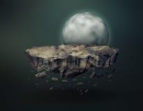Météorite surréaliste gravitant près de la lune Image libre de droits
